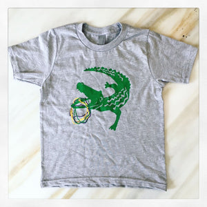 MARDI GRAS GATOR AND BEAD SHIRT