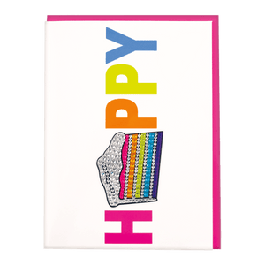 HAPPY RHINESTONE DECAL CARD & ENVELOPE
