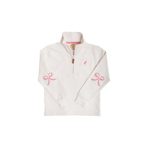 Canter Collar Half-Zip Worth Avenue White with Hamptons Hot Pink