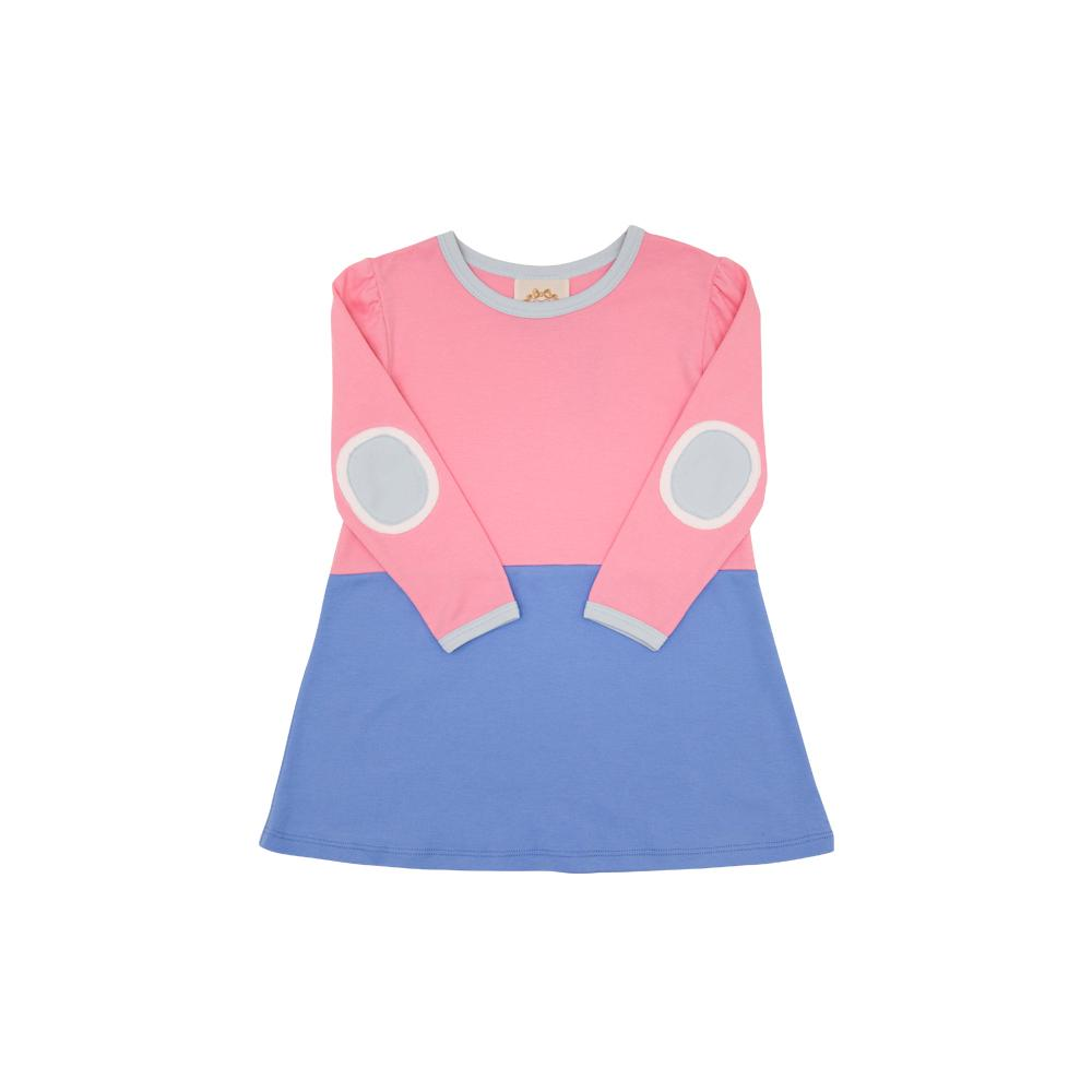 Eleanor's Elbow Patch Dress Hamptons Hot Pink & Barbados Blue