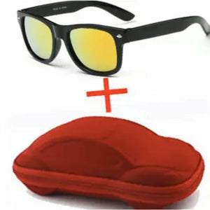 SUNGLASSES W/ CAR CASE RED