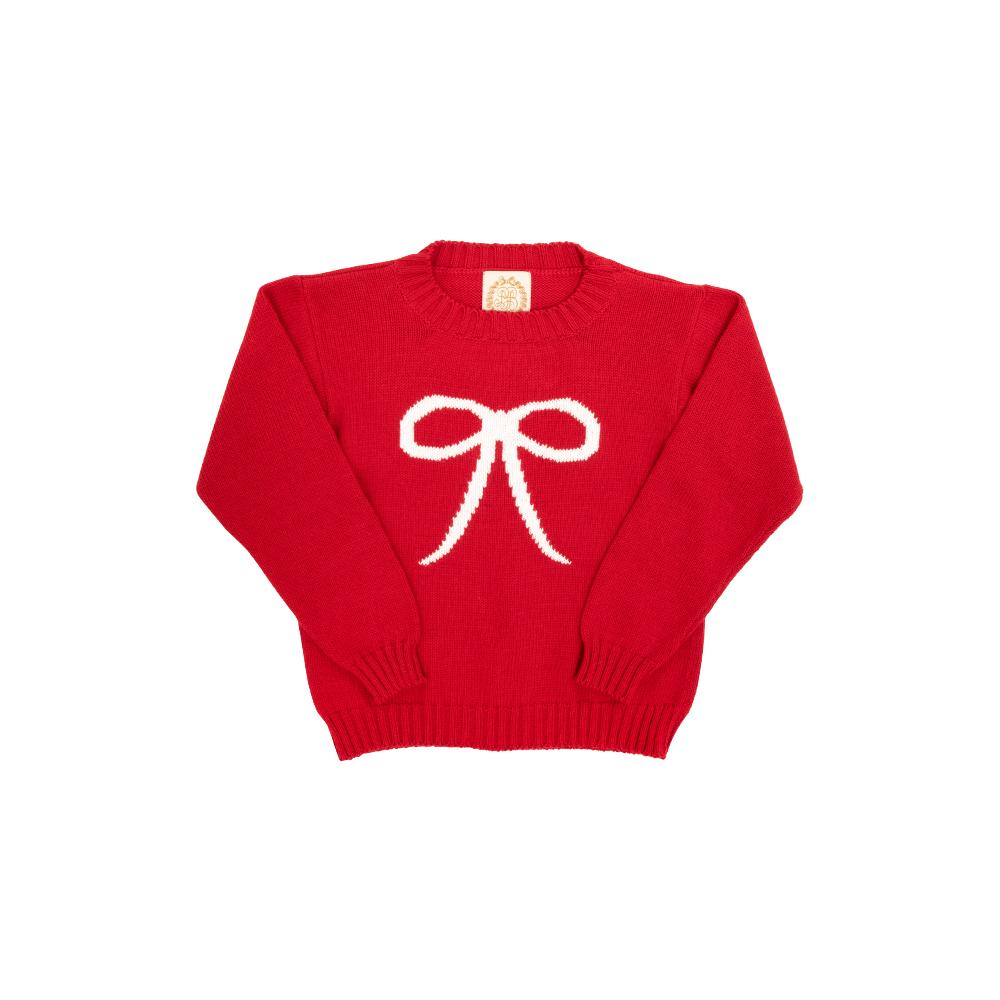 Isabelle's Intarsia Sweater Richmond Red with Bow