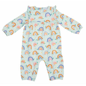 ANGEL DEAR BABY GIRLS RUFFLE SLEEVE ROMPER - BLUE RAINBOW TURTLES