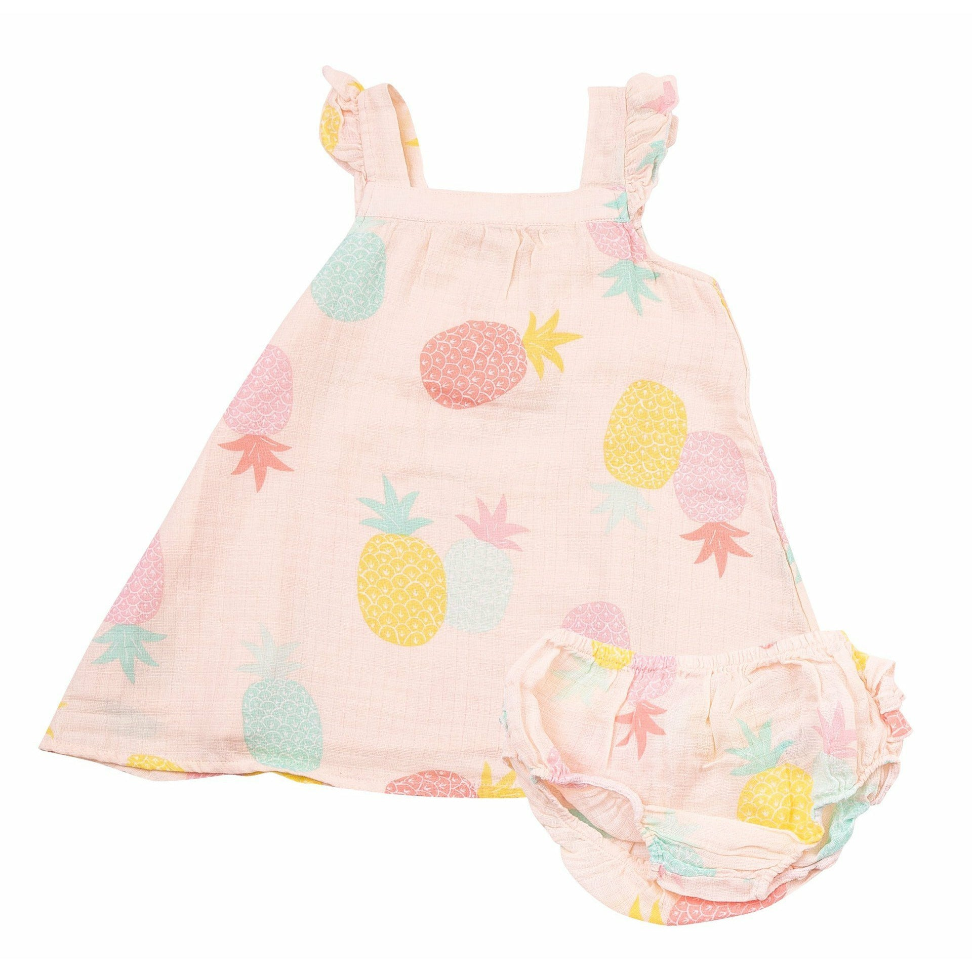 PINEAPPLES RUFFLE DRESS AND DIAPER COVER