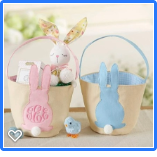 BURLAP EASTER BUNNY EAR BASKET PINK