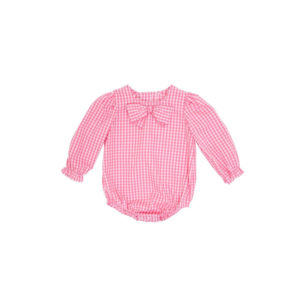 BEATRICE BOW BLOUSE - PINK GINGHAM
