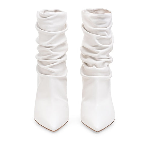 41e4ccdf698 ... High Heel Slouch Boots Satin Ankle Booties Pointed toe Slip on Wrinkled  Stylish Short Boots Evening ...