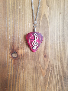 Retuned Guitar Pick and Treble Clef Necklace