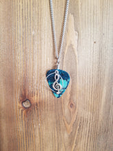 Load image into Gallery viewer, Retuned Guitar Pick and Treble Clef Necklace