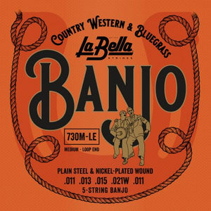 La Bella 5-String Banjo Strings - Medium, Loop End