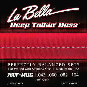 "La Bella Deep Talkin' Bass Strings - 30"" Scale String Through"