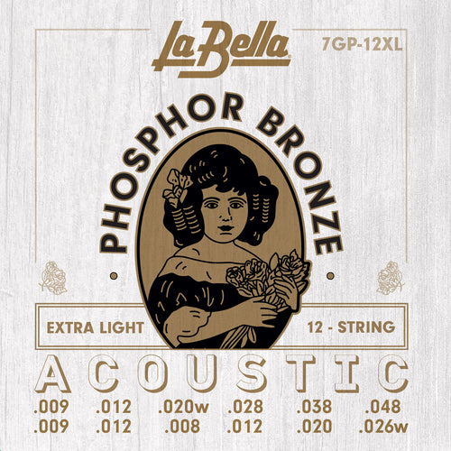 La Bella Phosphor Bronze 12-String Acoustic Guitar Strings -  Extra Light 9-48
