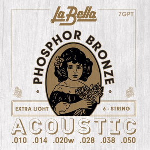 La Bella Phosphor Bronze Acoustic Guitar Strings - Extra Light 10-50