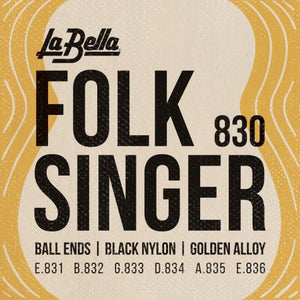La Bella Folksinger Guitar Strings - Black Nylon
