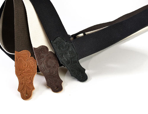 Franklin Cotton w/ Embossed Suede Ends Guitar Strap