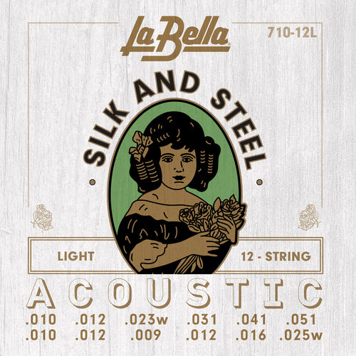 La Bella Silk & Steel 12-String Acoustic Guitar Strings -  Light 10-51