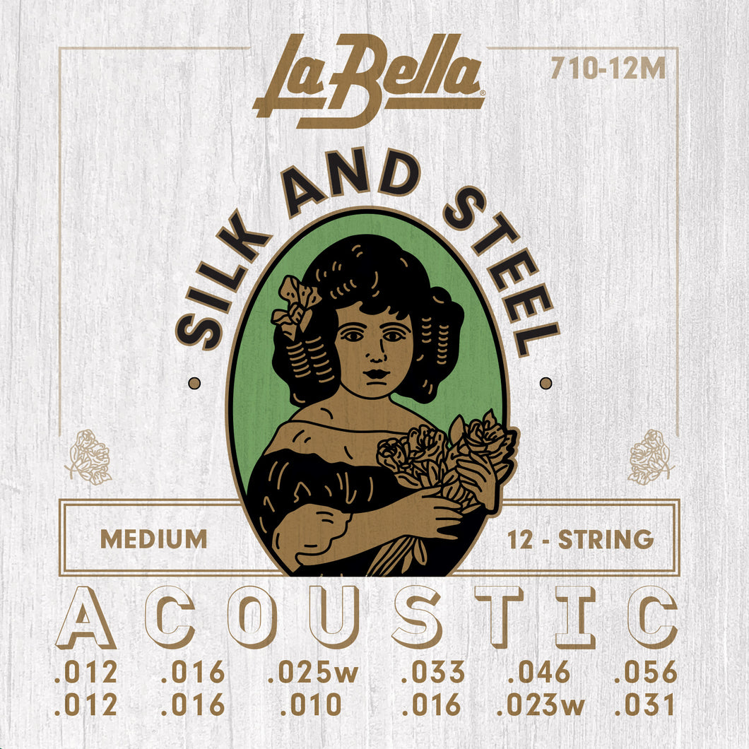 La Bella Silk & Steel 12-String Acoustic Guitar Strings -  Medium 12-56