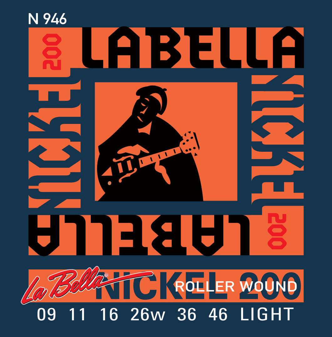 La Bella Nickel 200 Roller Wound Guitar Strings - Light 9-46