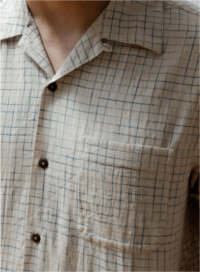 Indigo Handloom Crosshatch Vacation Shirt
