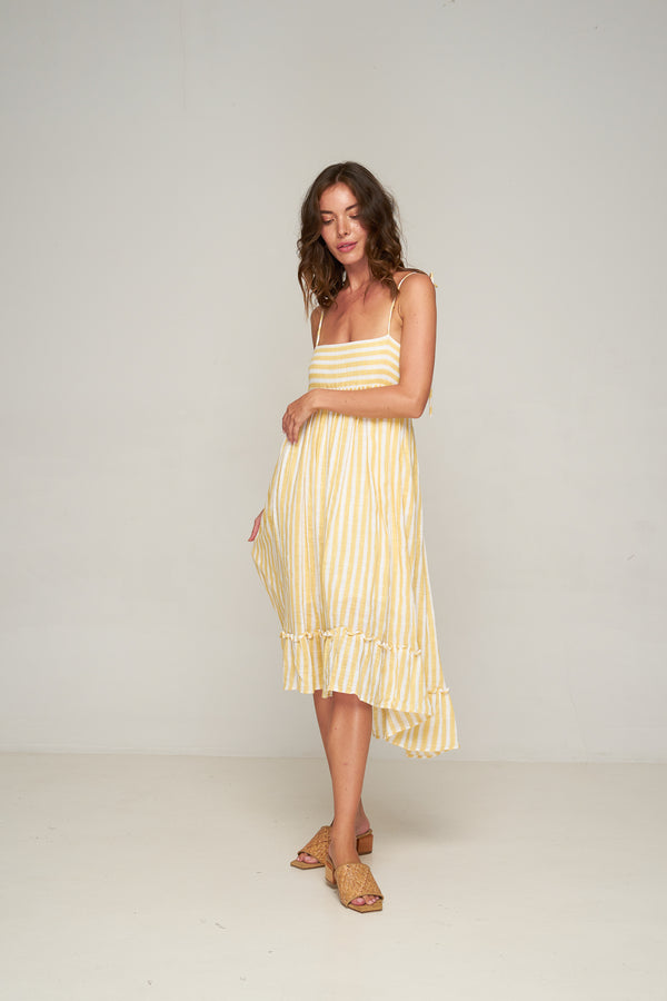 Sabino Dress - Yellow Stripe