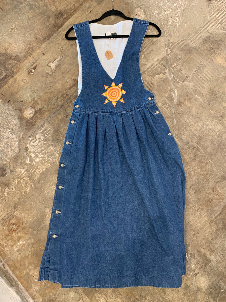 Vintage Denim Dress with Sun Embroidery