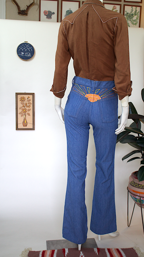 Vintage 70's Bell Bottoms with Sunburst Embroidery