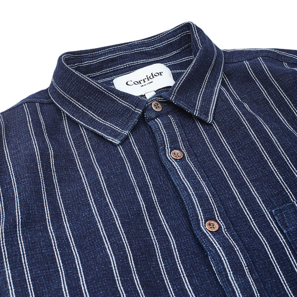 Indigo Dry Stripe Long Sleeve