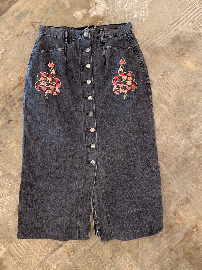 Vintage Black Denim Skirt with Snake Embroidery