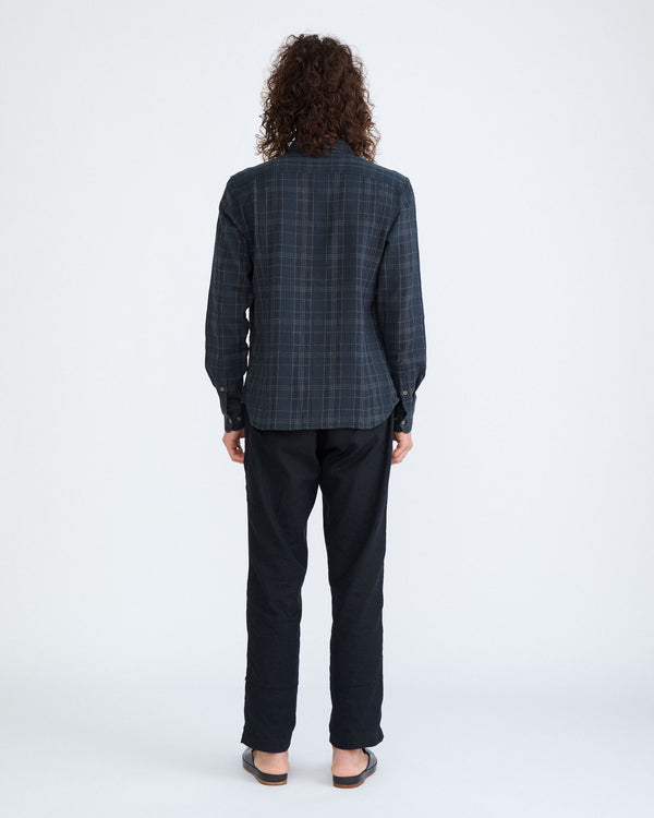 Black Dobby Plaid Long Sleeve
