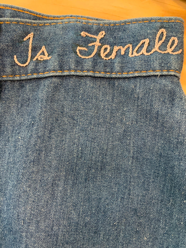 Vintage Denim with The Future is Female Embroidery