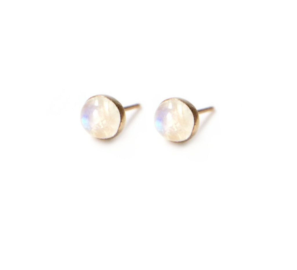 Gemstone Studs Earrings Moonstone 6mm