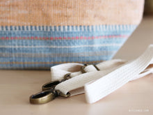Load image into Gallery viewer, Handwoven cotton bag, blue/peach stripes, fair fashion