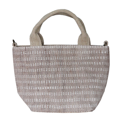 Handwoven cotton bag, latte/white, fair fashion