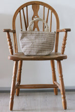 Load image into Gallery viewer, Handwoven cotton bag, latte/white, fair fashion