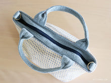 Load image into Gallery viewer, Handwoven cotton bag, white/light blue, fair fashion