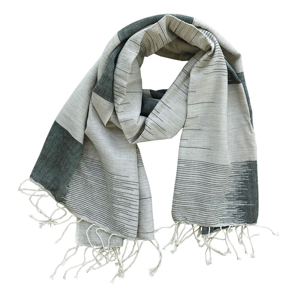 Handwoven cotton scarf - Weavers Project - black and white