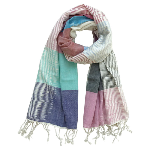 Color Block Bar Chart - Handwoven cotton scarf