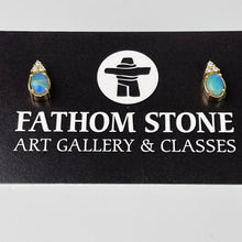 Load image into Gallery viewer, Pacific Blue BC Precious Opal Earrings 18K YG