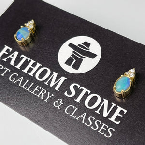 Pacific Blue BC Precious Opal Earrings 18K YG