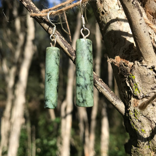 Cylinder earrings (New Zealand pounamu)