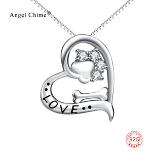 Love Heart Dog Paw Bone Necklaces