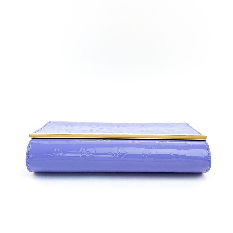 Louis Vuitton Monogram Vernis Ana Clutch Bag Lilac Bottom View