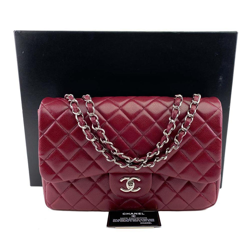Caviar Quilted Jumbo Single Flap Burgundy Red.