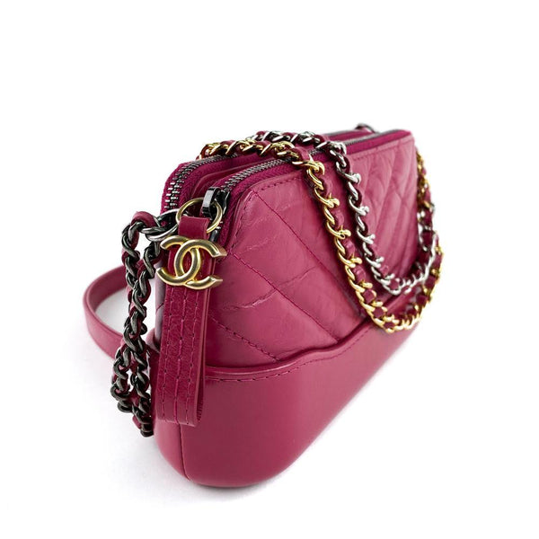 Chanel Pink Gabrielle Clutch WOC Chain Side View