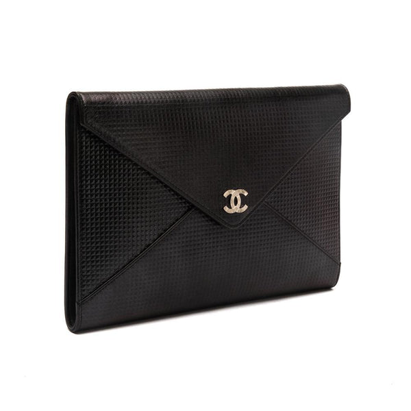 Chanel Cube Envelope Black Leather Clutch Side View