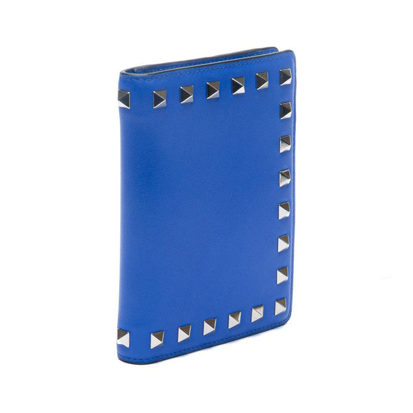 Valentino Rockstud Blue Leather Passport Cover Side View