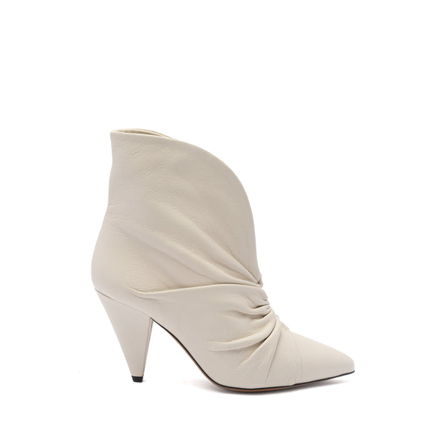 Isabel Marant White Ruched Leather Lasteen Ankle Boots