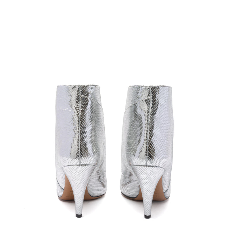 Embossed Exotic Metallic Leather Archenn Ankle Boots Silver 38.