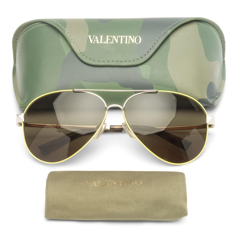 Valentino Metal Aviator Sunglasses Rockstud Temples Fluorescent Yellow Camouflage Case