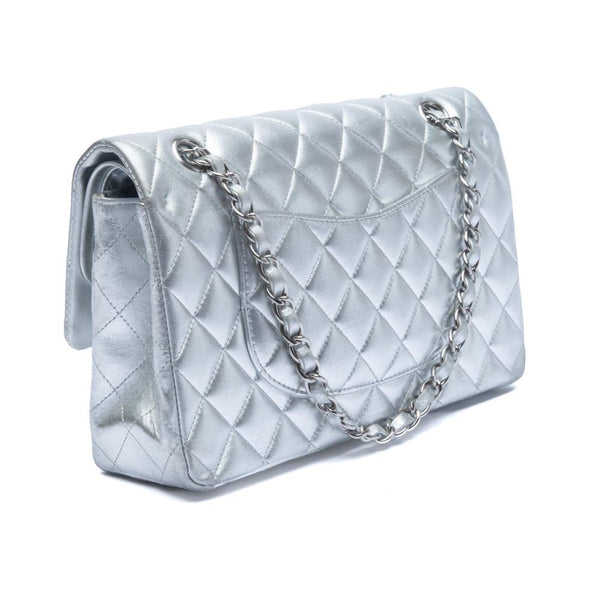 Chanel Silver Quilted Lambskin Leather Classic Medium Double Flap Bag